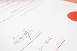 Sivaldymas certificate